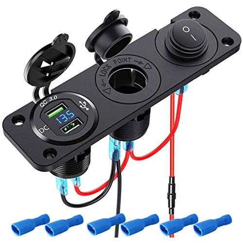 Auto USB Steckdose Zigarettenanzünder Einbausteckdose 12V-24V mit Dual QC3.0 USB Ladegerät mit Digitale LED-Anzeige+Unabhängigem Schalter, Wasserdicht für Auto Boot Marine Motorrad LKW