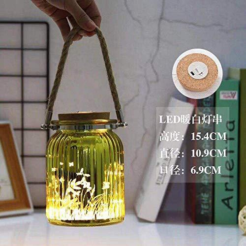 Creatieve lamp string galvaniseren snijwerk kleurrijke henneptouw slinger kurk gloeiende lamp warm witte kleur vaas-geel