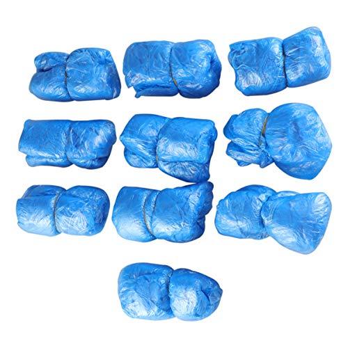 Minkissy Copriscarpe Monouso 100 Pezzi Elastici Antipolvere Impermeabili Antipolvere Copriscarpe in Plastica Copriscarpe per Giorni di Pioggia All'aperto Indoor