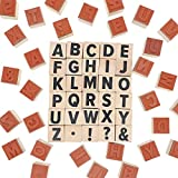 2-Sets (60 Pieces) 1-Inch Wood Alphabet Letters and Symbols Stamps for Crafts, and Scrapbooking