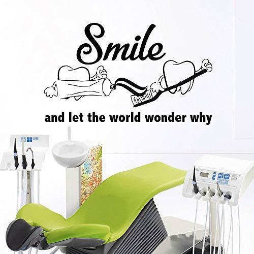 yuandp Tandkliniek Muurtattoo Muurtattoo Muur Vinyl decoratieve kunst Muursticker Glimlach tandenborstel Tand Care Behang afneembaar 57x66 cm A