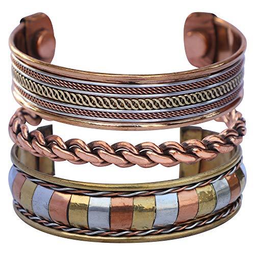Art of Creation Juego de 3 pulseras magnéticas de cobre puro hechas a mano | Terapia de curación ajustable, joyería espiritual de yoga para unisex