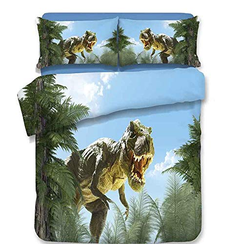 DTBDWOSY Tyrannosaurus Dinosaurio Animal De Dibujos Animados Juego De Funda Nórdica para Niños, 3 Piezas, Juego De Funda Nórdica Ultra Suave 180X220 Cm, Juego De Ropa De Cama con Funda De Almohada