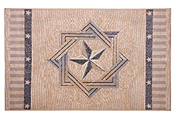 Furnish My Place Texas Star Rug - 5 ft x 8 ft Beige Rustic Novelty Lone Star Rug with Border Jute Backing