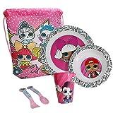 Set Melamina Bambini Set Pappa - Set da Cucina Bambina LOL Surprise BPA Free - Set da Tavola 6 Pezzi 1 Piatto Fondo, 1 Piatto Piano,1 Bicchiere, 2 Posate, 1 Sacca - Ideale per Microonde