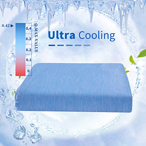 HOMBYS Ultra Cooling Throw Blanket for Sleeping(55''x75''),Summer Blanket,Lightweight Blankets,Bed Blanket,for Adults Children Babies,for Hot Sleepers,Absorb Sweat,Breathable,Machine Washable (Blue)
