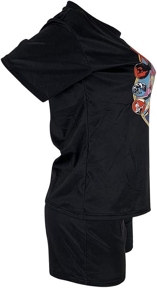 Womens 2 Piece Outfits Letter Print Short Sleeve Crop Top and High Waist Short Pants