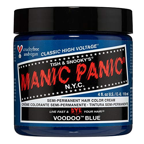 Manic Panic Voodoo Blue Hair Dye – Classic High Voltage - Semi Permanent Hair Color - Dark Cyan Shade With Green Undertones - For Dark & Light Hair - Vegan, PPD & Ammonia-Free - For Coloring Hair