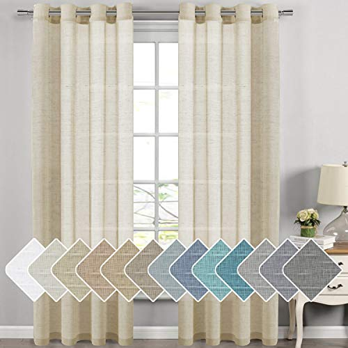 Natural Linen Sheer Curtains for Living Room/Dining Room, Extra Long Curtains Made of Rich Linen Soft Material, Nickel Grommet Window Panel Drapes (Set of 2, 52 by 108 Inch, Butter)