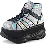 Demonia Unisex NEPTUNE-100 Platform Glitter Hologram Ankle Bootie Silver M 6/W 8