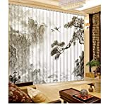 SHANGZHIQIN European Luxury Design Curtain Kitchen 3D Curtains,Chinese Hand-Printed Mountain...