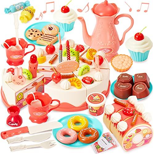 HERSITY 82 Stück Geburtstagstorte Spielzeug Kuchen Spielküche Zubehör Lebensmittel Kinderküche Torte Kaufmannsladen Geschenke für Kinder ab 3 4 5 Jahren