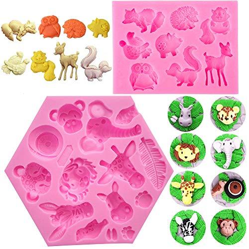SUNSK Moldes de Pastel de Silicona Fondant 3D Moldes de Animales Decoración de Tartas Herramientas para Hacer Bricolaje Caramelos Chocolate Jabón Moldes 2 piezas