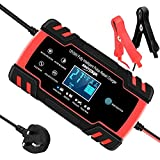 KINJOHI Car Battery Charger, 12V/24V 3-Stage Automatic Trickle Battery Charger Intelligent Battery Charger Maintainer, with LCD Screen Suit for More Type of Batteries