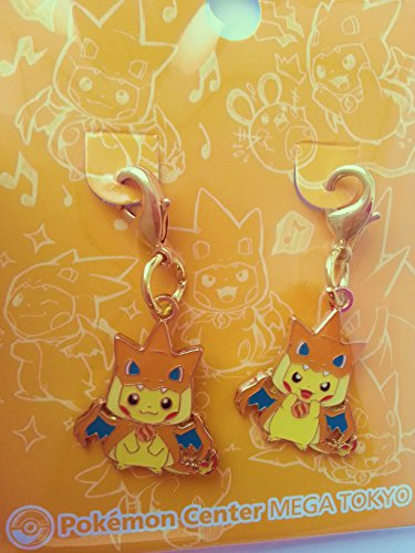 Straps Pikachu Dracaufeu (Set Comprenant 2straps Cordon Non Inclus) - Edition Limité & Exclusive Pokemon Center Tokyo (Import Japon - Produit Officiel)