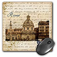 3dRose LLC 8 x 8 x 0.25 Inches Rome with Script and Butterfly Mouse Pad (mp_130622_1) [並行輸入品]