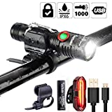 1000 Lumen Bike Light USB Rechargeable Stepless dimming Free Taillight Included Mount Cycle