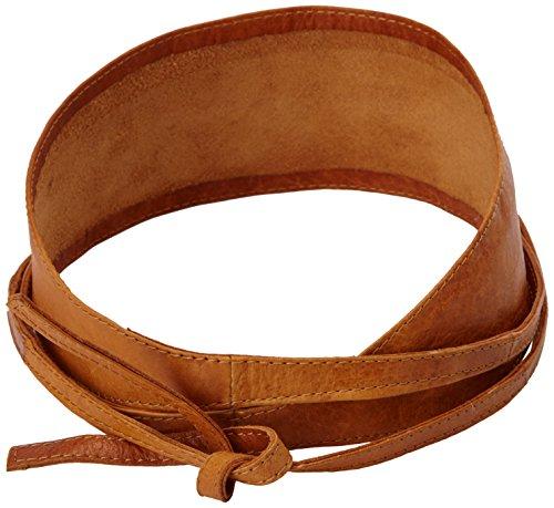 PIECES Damen Gürtel VIBS LEATHER TIE WAIST BELT, Einfarbig, Gr. 80 cm (Herstellergröße: 80), Braun (Cognac)