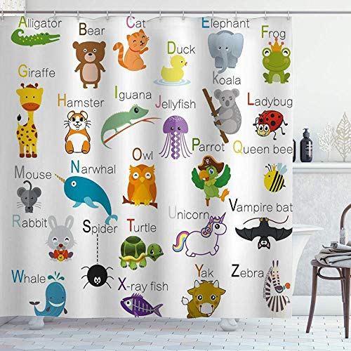 MIFSOIAVV Duschvorhang Mit Haken,ABC Learning Alphabet Kinder pädagogisch,Bad Vorhang Waschbar Bad Vorhang Polyester Stoff mit 12 Haken 180x180 cm