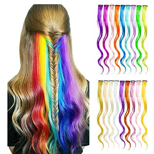 Wafly Bunte Haarteile 18 pcs, Haarverlängerungen mit Clips Regenbogen Perücke Party Highlight Clip Synthetisch Haarteil für Kinder Mädchen, Damen, 50cm/19.7 Zoll-Haar Salon Versorgung (Lockig)