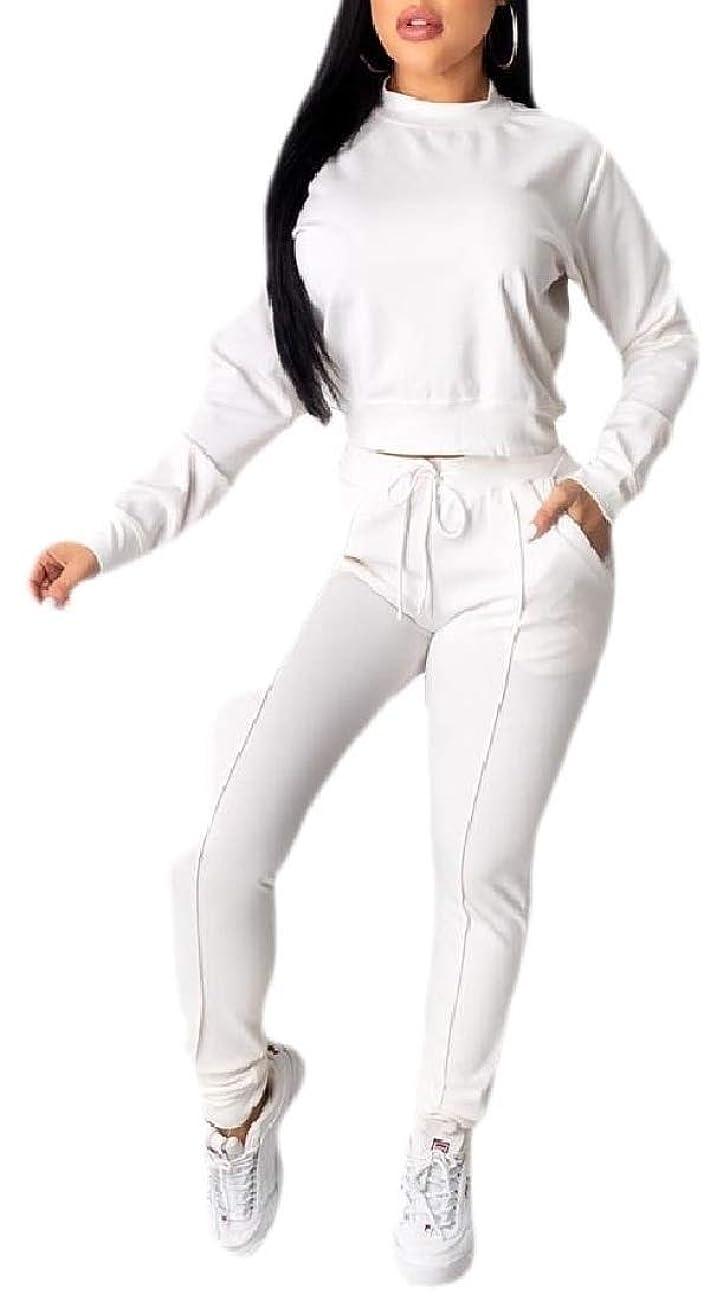 恒久的何故なのスマートレディースTシャツ ピュアカラーOネック ロングスリーブ ロングパンツ セット トラックスーツ
