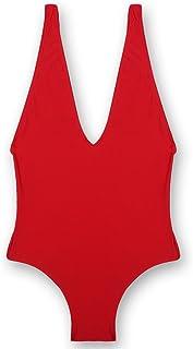 レディース ワンピース水着ソリッド カラー女性深い V ネック水着ビーチの弾性の水着を着てください。