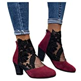 Aniywn Womens Chunky Heeled Closed Toe Shoes Lace Flower Mesh Ankle Boots Latin Dancing Shoes Party Shoes Red