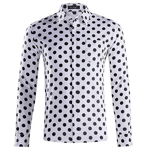 Herren Langärmelig Hemd,Fashion Regular Fit Baumwollhemd Mit Tasche Lässig Faltenresistent Kariert Schwarz Punkt Weiß Tops Ideal Für Geburtstag, M.