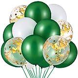 60 Stücke Dschungel Safari Thema Ballon Grün Weiß Latex Luftballon Konfetti Luftballon für Sommer Hawaiian Geburtstag Baby Shower Dinosaurier Thema Party Dekoration