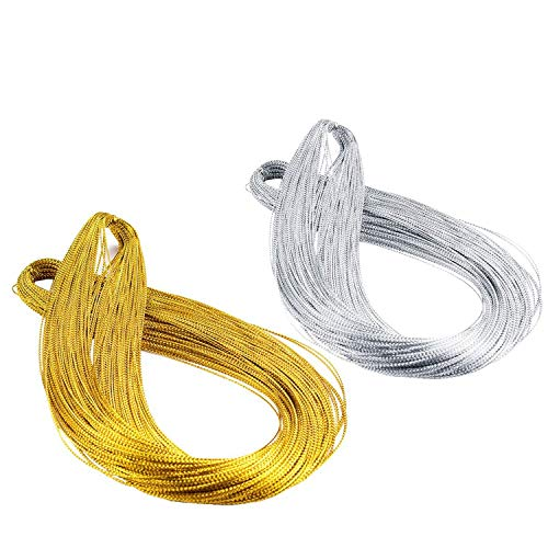 Ryalan Silver Gold Cord, Metallic Gift Tags Gold Silver String Jewelry Thread for Wrapping Hair Braiding and Craft Making, 150 Meters / 165 Yards-1mm (Silver Gold, 150 M)