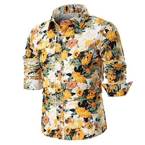 Hffan Herren Retro-Stil Langarm Slim Fit Design Hemden Leinenhemd mit Druckknöpfen Freizeithemden Herren Günstig Mode Freizeit Casual Blumenhemd Blumenmuster Bedruckt(Gelb,Large)