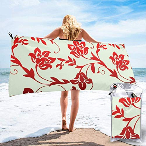 Gebrb Toalla de baño de Microfibra,Toallas de Gimnasio,Red Floral Wallpaper Microfiber Fast Drying Towels Suitable for Camping, Backpacking,Gym, Beach, Swimming,Yoga