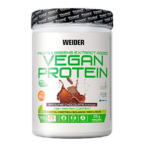 Weider Vegan Protein, Sabor Chocolate, Proteína 100% vegetal de guisantes (PISANE) y arroz, Sin gluten, Sin lactosa, Sin aceite de palma, 750 g ✅