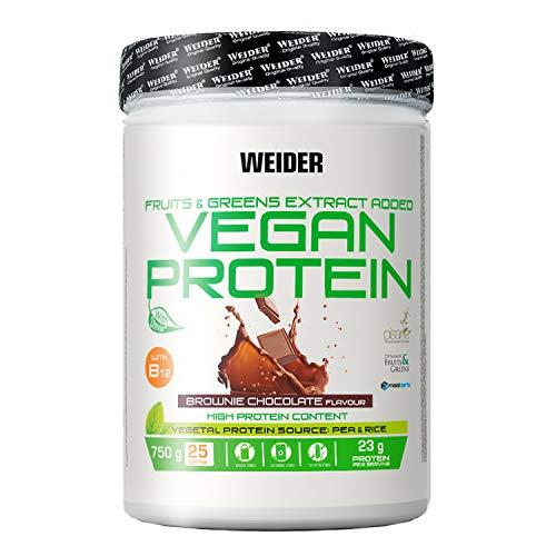 Weider Vegan Protein, Sabor Chocolate, Proteína 100% vegetal de guisantes (PISANE) y arroz, Sin gluten, Sin lactosa, Sin aceite de palma, 750 g 🔥