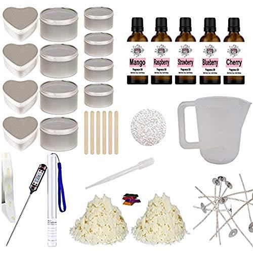 Eco Soy Candle Making Kit 15 - Beginner Starter Set Tins Glitter Fruity Fragrance & Colour