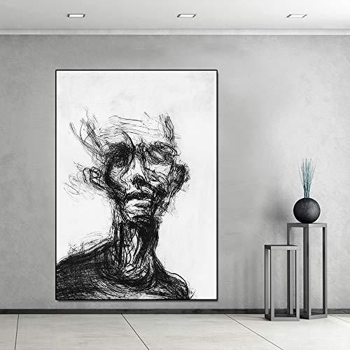 Poster abstrakte Figur Linie Alter Mann leinwand malerei Wohnzimmer Dekoration malerei ölgemälde wandkunst Bild rahmenlose 30x45 cm