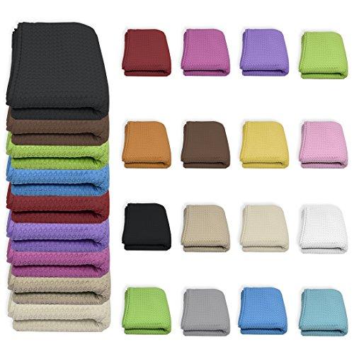 Qool24 Waffelpique Tagesdecke 100% Baumwolle viele Farben und Größen Sofaüberwurf Pink 200 x 200 cm