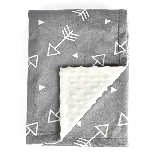 BORITAR Baby Blanket Super Soft Minky with Double Layer Dotted Backing, Little Grey Arrows Printed...