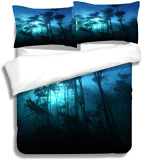 MTSJTliangwan Family Bed Silhouette Giant kelp Forest (Macrocystis pyrifera) Grows Off The Coast of South Africa is Habitat 3 Piece Bedding Set with Pillow Shams Queen Dark Orange White Teal Coral