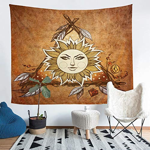 Tapiz de sol para colgar en la pared para niños y niñas, estilo bohemio exótico, decoración de pared, estilo bohemio, bohemio, con flecha, para dormitorio, sala de estar, XLarge de 152 x 228 cm