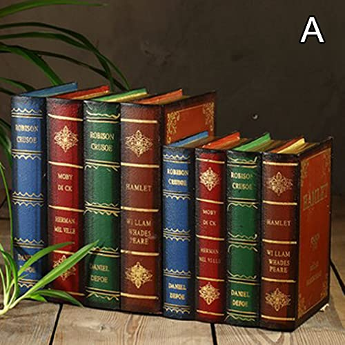 Feixing Juego de sujetalibros decorativos para estantería de libros con tapones y caja de almacenamiento de estilo antiguo vintage