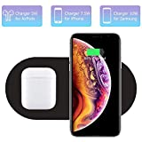 Dual Wireless Charger, COSOOS Qi Certified Fast Wireless Charging Pad Compatible for iPhone 12/12 Pro/12 Pro Max/12 Mini/11/11 Pro Max/XS, Galaxy S20/Note 10, AirPods Pro, Galaxy Buds+(No AC Adapter)