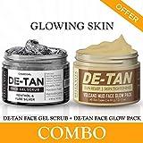 De carbón de leña-Tan Exfoliante Facial & De-Tan Arcilla para Cara Glow Pack Combo