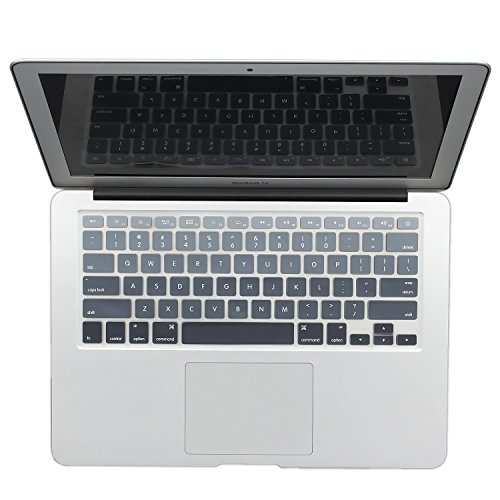 Batianda New Ombre Color Keyboard Cover Protector Silicone Skin for MacBook Air 13' MacBook Pro 13' 15' 17' (with or w/Out Retina Display) - Gradient Grey