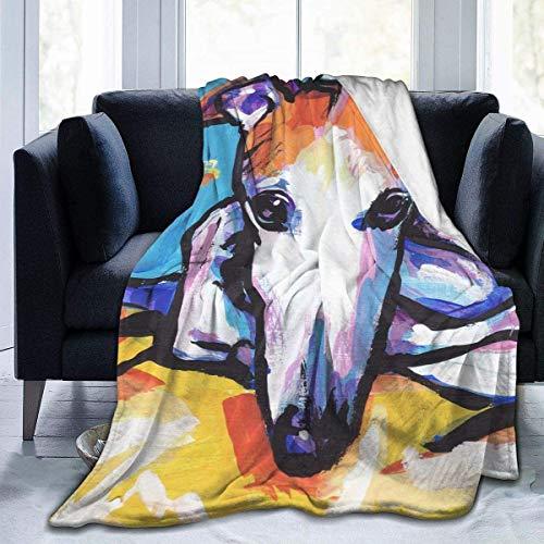 Terapia de insomnio del sueñoGreyhound Dog Art Painting Full Fleece Throw Manta Edredón Plush Soft Cozy Quilt Nursery Bedding Decor Dormitorio Decoraciones Franela Fluffy Queen King Size