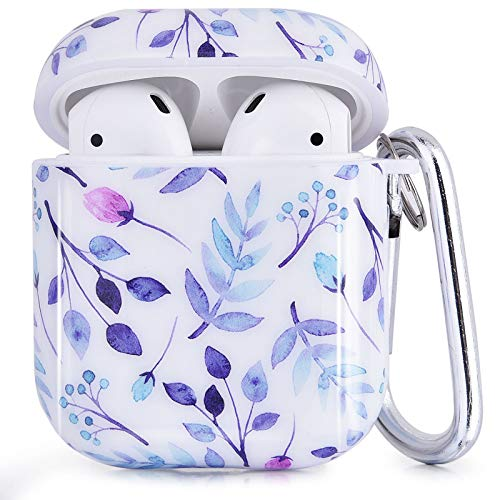 CAGOS Compatible with Airpods Case, 3 in 1 TPU Hard Airpods Accessories Protective Case Cover Portable & Shockproof for Apple Airpods 2 & 1 Charging Case (White Purple)