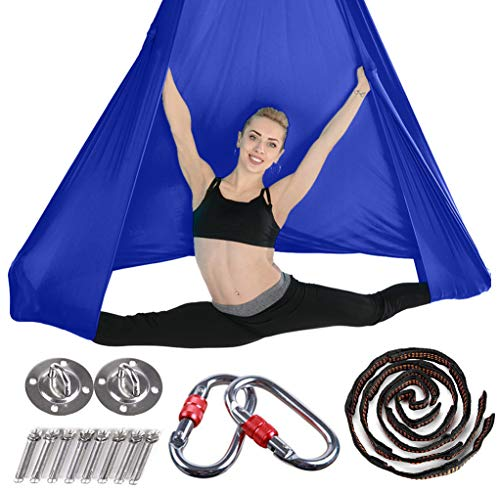 Brinny Yoga DIY Silk Pilates Premium Aerial Silks Equipment Aerial Yoga Toalla Aerial Silk Elástica Yoga Hamaca con Tela Accesorios 5 Metros Azul Oscuro