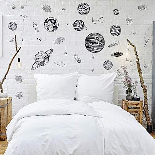 xiaoshicun Stickers Muraux Système Solaire pour Enfants Chambres Étoiles Univers Univers Espace Planètes Terre Soleil Saturn Mars Affiche Mural Scolaire Decor50 * 70 cm