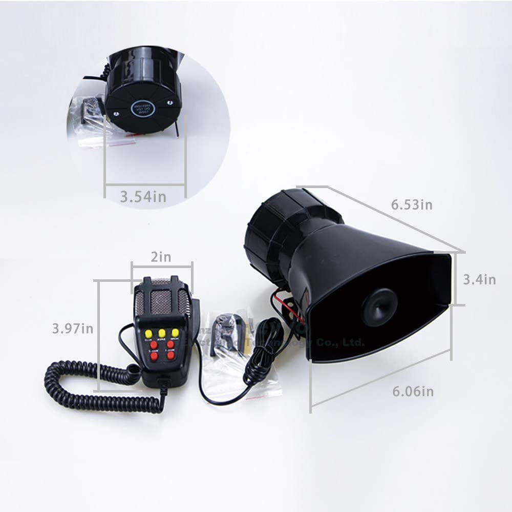 HEYVO 12V 7 pitch siren, car horn siren/ambulance/police siren/traffic sound, PA speaker system amplifier with microphone, universally suitable for cars, trucks, motorcycles, mopeds