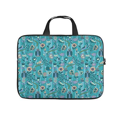 Butterfly Owl Bird Snail Flower Plant Leaf Laptop Bag Scratch Resistant Laptop Case Design Notebook Bag for University Work Business